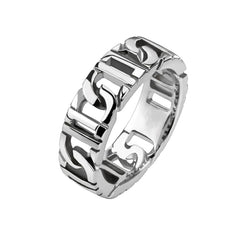 Tire Tracks - Polished silver stainless steel chain link men's ring