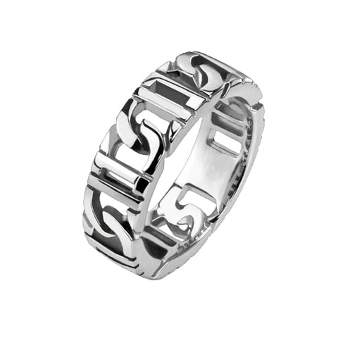 Ingenuity - Polished silver stainless steel D link men's chain ring