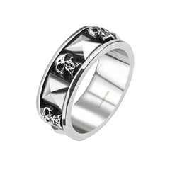 Skulls 'n' Studs - Oxidized silver stainless steel skull face with studs men's ring