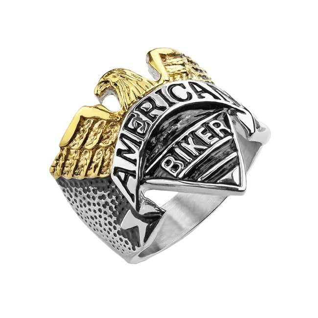 American Biker - Gold IP and silver engraved stainless steel American Biker motorcycle ring