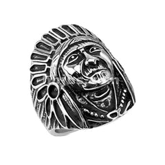 The Big Chief - Indian chief headdress war bonnet black oxidized stainless steel men's ring