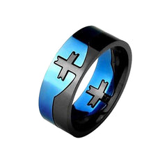 Cross Puzzle - Two Tone Cross Center Puzzle Stainless Steel Ring