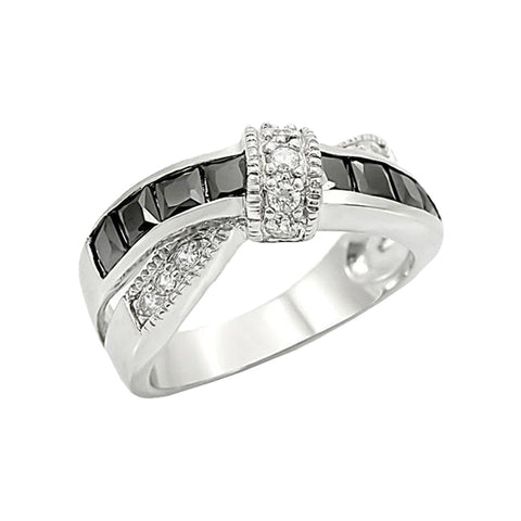 Silver Ribbon - Cross over style grey glass white cubic zirconia stainless steel ring
