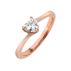 Rose Love - Heart CZ Rose Gold IP Plated Stainless Steel Ring
