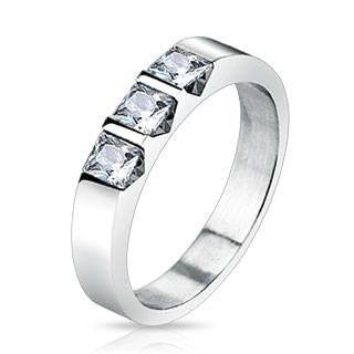 Past Present Future - FINAL SALE Triple Square CZ Stone Stainless Steel Ring