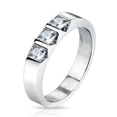 Past Present Future - Triple Square CZ Stone Stainless Steel Ring