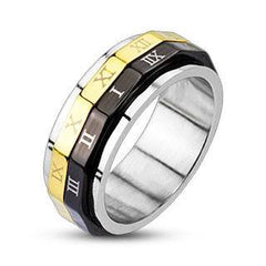 Roman Numeral Spinner - Black and Gold IP Stainless Steel Ring