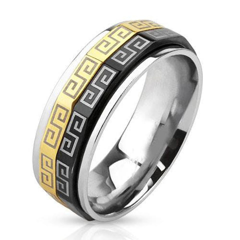 Greek Symbol Spinner - Black and Gold IP Detailed Design Stainless Steel Ring