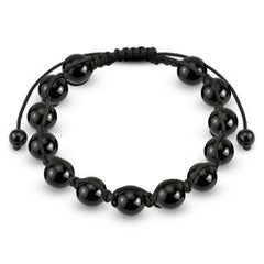 Metallic Black - Detailed Round Bead Bracelet