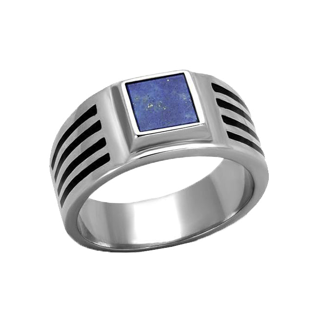 Ancient Lapis - Stainless Steel Precious Stone Ring