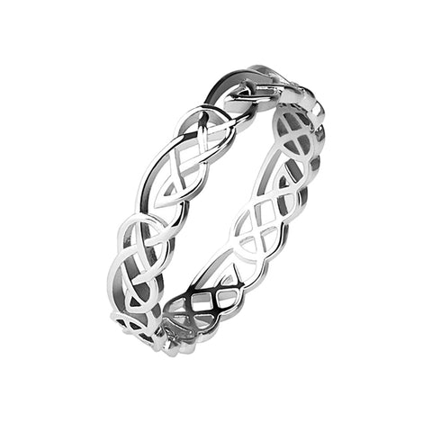 Tribal Knot - Rhodium Plated Brass Ring