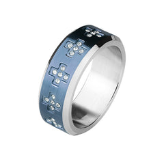 Blue Cross Around - CZ Crosses Around Blue IP Stainless Steel Ring