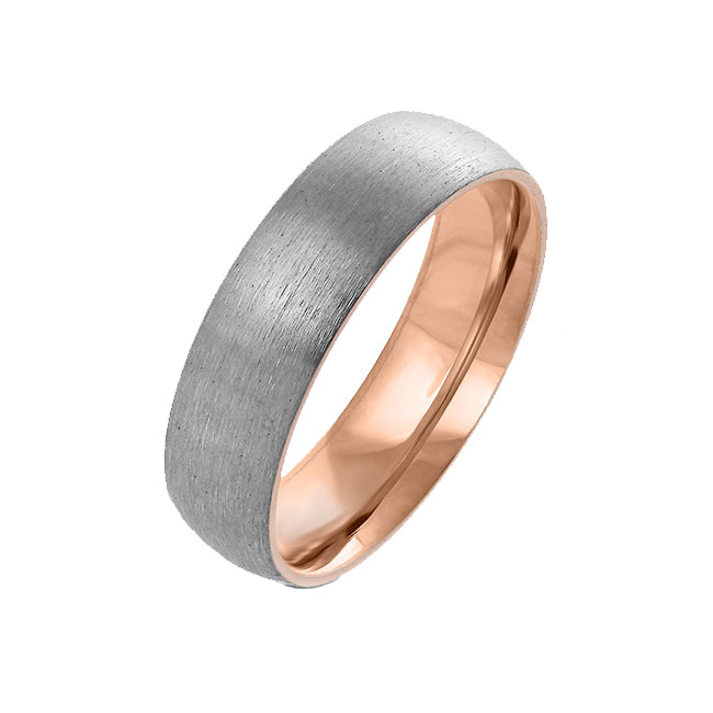 Rose Gold Soul - Dome Two Toned Brushed Titanium And Rose Gold Center Ring