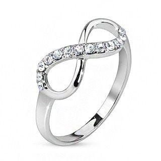 Infinitude - Cubic zirconia studded infinity symbol rhodium plated brass ring