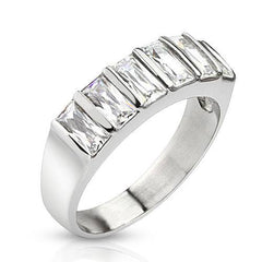 Sixth Sense – Unique Design Six Emerald Cut Cubic Zirconia Stainless Steel Wedding Band