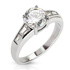 Exquisite - Classic Round Cut Cubic Zirconia Solitaire with Emerald Cut Baguettes Stainless Steel Engagement Ring