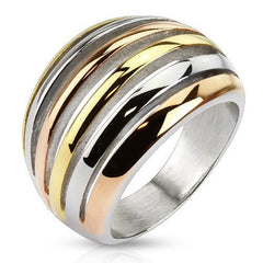 City Lights - Silver rose gold and gold IP tri tone stainless steel crescent cut out ring