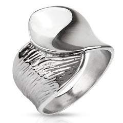 Go With The Flow -  FINAL SALE Textured silver yin yang flow stainless steel ring