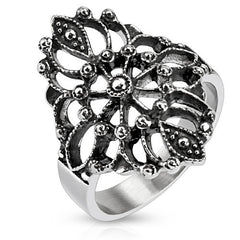 Desiree – Intricate Antiqued Stainless Steel Floral Design Cocktail Ring