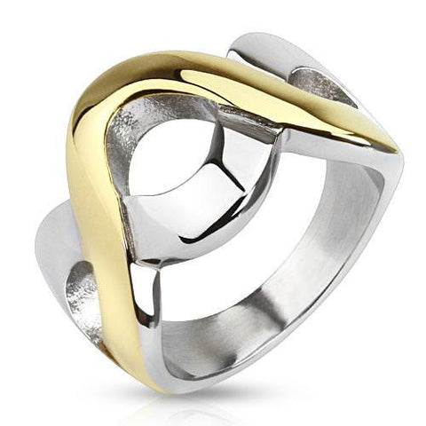 Delta Wave – FINAL SALE Two-Tone Stainless Steel Gold Interlocking Wave Pattern Ring