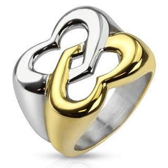 Butterfly Hearts - FINAL SALE Gold IP and silver two tone stainless steel ring in linked heart butterfly design