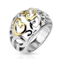 Dancing Hearts Ring - Light Hearted Two Tone Stainless Steel and Gold Hearts Cut Out Pattern Ring