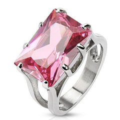 Blushing Princess – Lovely Rectangular Emerald-Cut Pink Cubic Zirconia Cocktail Ring in Stainless Steel