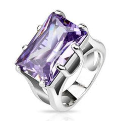 Diva - Purple Gem Cast Stone and Highly Reflective Stainless Steel Ring
