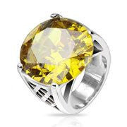 Sunfire - Yellow Topaz Cubic Zirconia Stainless Steel Comfort-Fit Ring