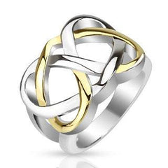 Endless Knot - Gold IP and silver stainless steel two tone heart infinity Celtic knot ring