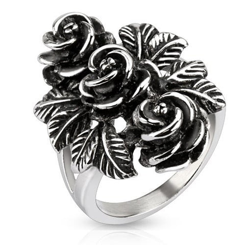 Vintage Rose Trio - Pretty Intricately Carved Antiqued Stainless Steel Three Roses Cocktail Ring