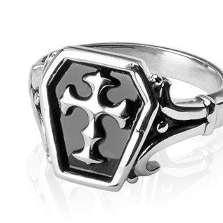 Sanctum - FINAL SALE Symbol Of Might and Unending Loyalty Stainless Steel Center Cross Ring