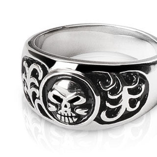 To Hell and Back - Life death engraved black oxidized stainless steel men's skull ring