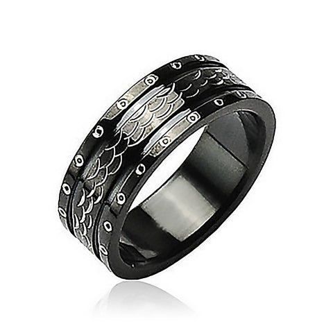 Black Dragon - Excellence in Style Black Stainless Steel Ring Armor like Scales