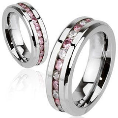 Forever In Pink - FINAL SALE LIMITED QUANTITY Stunning Stainless Steel Band with Blush Pink and White Cubic Zirconias