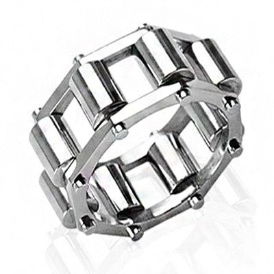 Conveyer Belt – Polished stainless steel spinning roller design linked men's ring