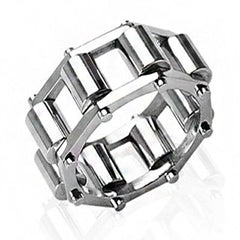 Conveyer Belt – FINAL SALE Polished stainless steel spinning roller design linked men's ring