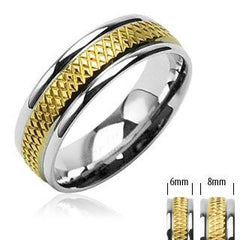 Tenacious – Semi Prism Gold Center Silver Stainless Steel Border Ring