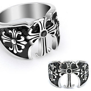 High Kingdom - Three Medieval Crosses with Black Gem Black and Stainless Steel Royal Style Ring