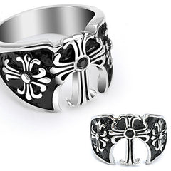 High Kingdom - FINAL SALE Three Medieval Crosses with Black Gem Black and Stainless Steel Royal Style Ring