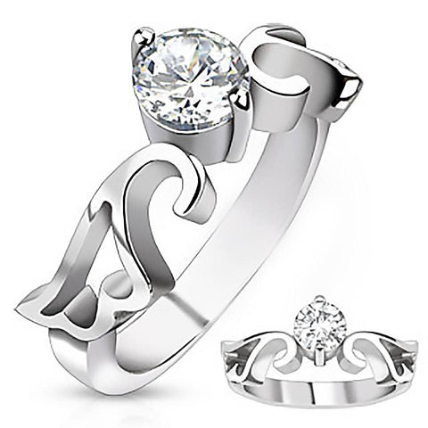 A Higher Love - FINAL SALE Artistic Design Stainless Steel Ring with Round Cut Cubic Zirconia