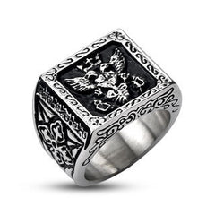 Steel Empire Signet - Royal Design Black and Stainless Steel Comfort-Fit Ring