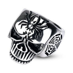 Wicked Web - Spider and web engraved black oxidized stainless steel men's skull ring