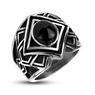Magi - Captivating Geometric Design Silver and Black Stainless Steel Allure Of Gem Ring