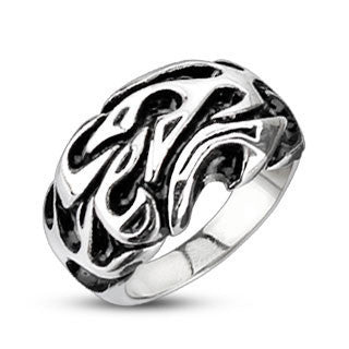 Trial By Fire - Tribal Inspired Flames Design Black and Stainless Steel Comfort-Fit Ring