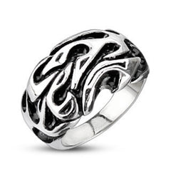Trial By Fire - FINAL SALE Tribal Inspired Flames Design Black and Stainless Steel Comfort Fit Ring