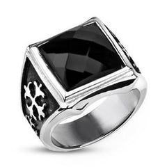 Royal Cross Signet - Elegant Design Dark Reflective Square Cut Cubic Zirconia Stainless Steel Comfort Fit Ring
