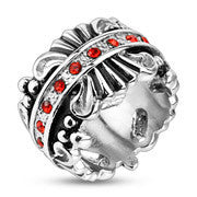 Royalty in Red - Royal Crown Design Stainless Steel Comfort-Fit Ring with Red CZ Center Band