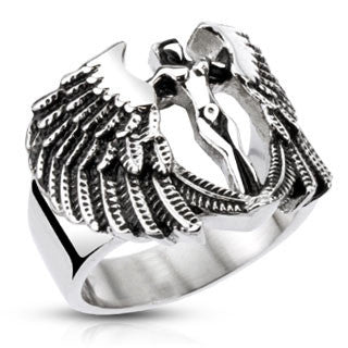 Road Angel – Black oxidized stainless steel protection angel ring