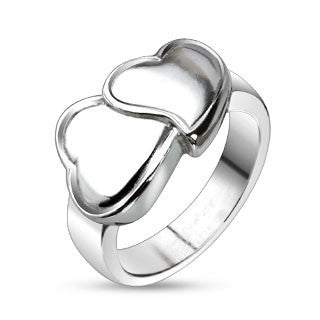 Hug My Heart – FINAL SALE Polished stainless steel artistic double hearts ring